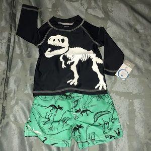 Baby boy rashguard and swim trunk set